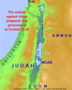 Map of the nations against whom judgment was pronounced in Ezekiel 25