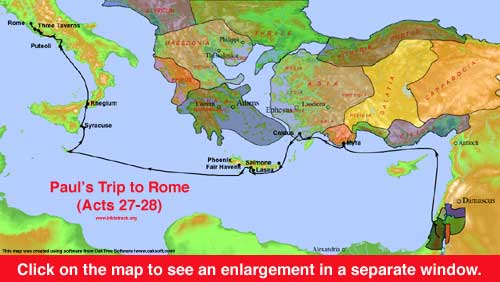 Map of Paul's Trip to Rome