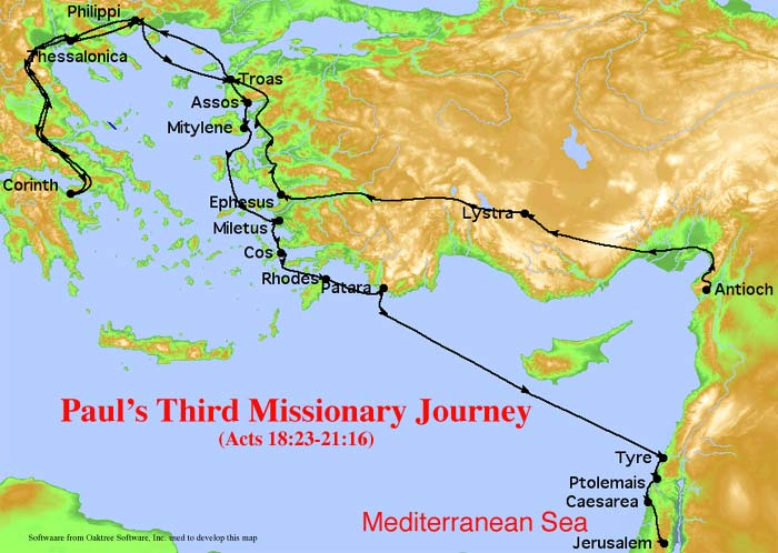 Paul's Third Missionary Journey Map