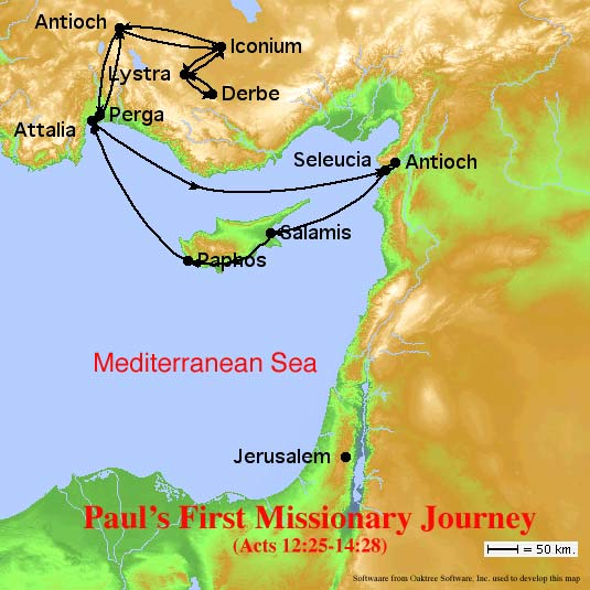 Paul's First Missionary Journey Map