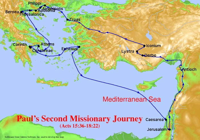 Paul's Second Missionary Journey Map